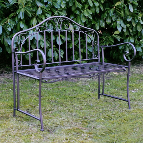 gartenbank eisen metallbank bank garten metall anthrazit 2 sitzer 110cm neu ebay. Black Bedroom Furniture Sets. Home Design Ideas