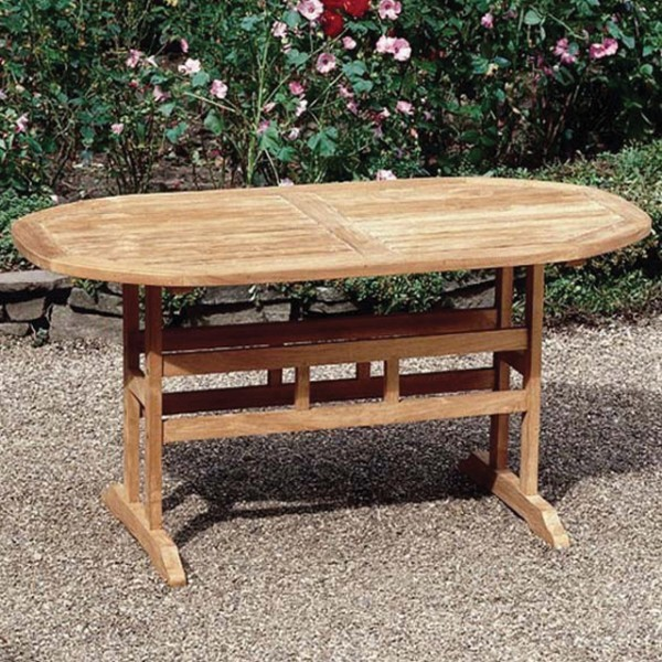 stabiler teaktisch oval 150x80cm gartentisch teak gartenm bel tisch holz ebay. Black Bedroom Furniture Sets. Home Design Ideas