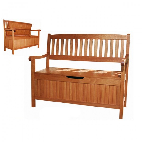 holz truhenbank 107cm garten sitzbank holzbank gartentruhe fsc eukalyptus ebay. Black Bedroom Furniture Sets. Home Design Ideas