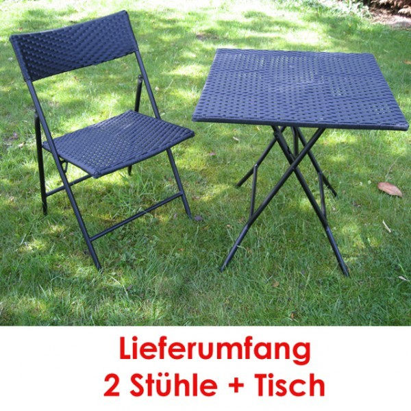 3tlg balkon sitzgruppe rattan sitzgarnitur gartenm bel bistroset schwarz haus und garten. Black Bedroom Furniture Sets. Home Design Ideas