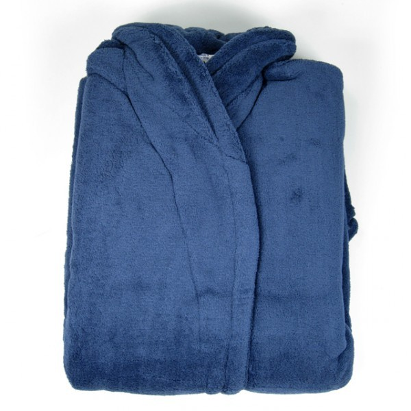 microfaser bademantel blau s m morgenmantel bademantel saunamantel damen herren ebay. Black Bedroom Furniture Sets. Home Design Ideas