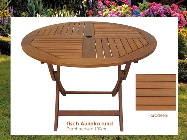 gartentisch holz aurinko tisch rund 100cm klappbar eukalyptus fsc neu ebay. Black Bedroom Furniture Sets. Home Design Ideas
