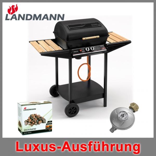 landmann lavastein gasgrill incl druckminderer grill holzablagen thermostat ebay. Black Bedroom Furniture Sets. Home Design Ideas