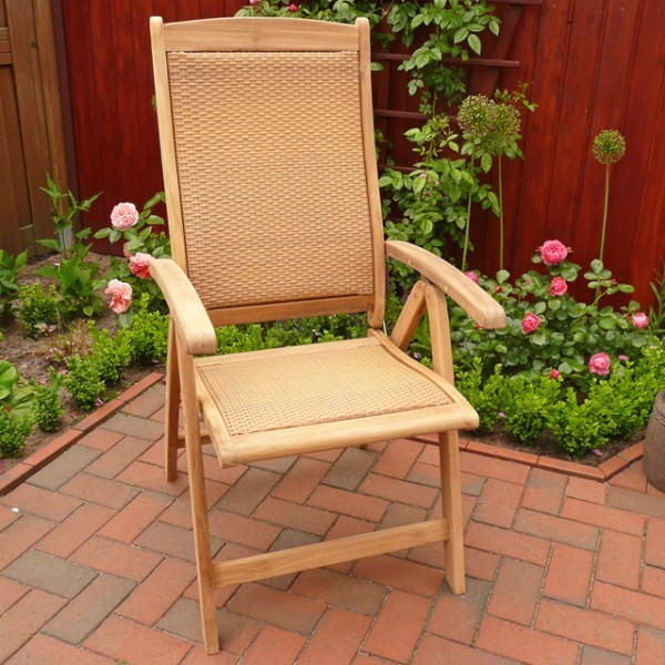 belardo gartenm bel teak rattan hochlehner gartenstuhl klappsessel holz ebay. Black Bedroom Furniture Sets. Home Design Ideas