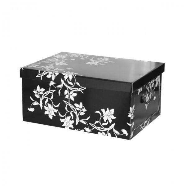 stabile aufbewahrungsbox mit deckel schwarz 51x37x24. Black Bedroom Furniture Sets. Home Design Ideas
