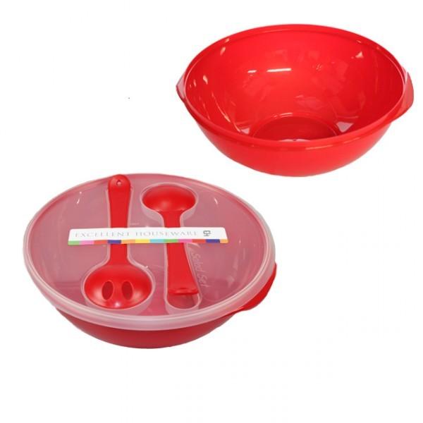4tlg salatsch ssel mit besteck rot salat sch ssel mit deckel und salatbesteck k che und. Black Bedroom Furniture Sets. Home Design Ideas