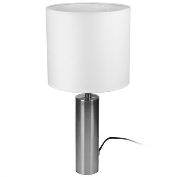 tischlampe 42cm tischleuchte edelstahl lampe stehlampe mit schirm weiss ebay. Black Bedroom Furniture Sets. Home Design Ideas