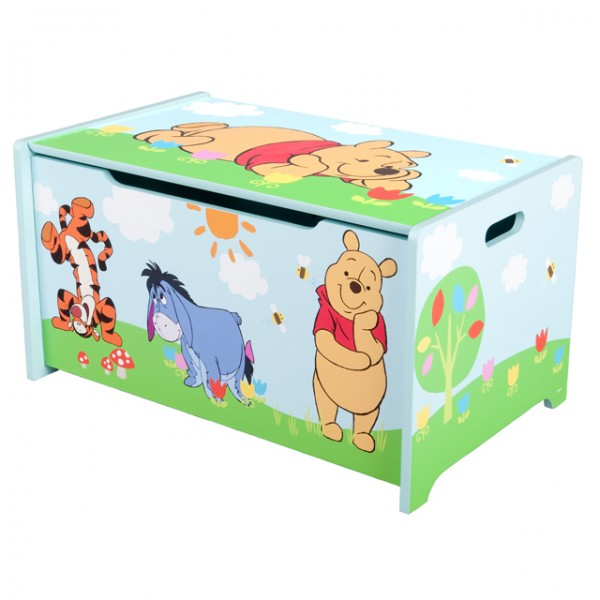 winnie pooh holz spielzeugkiste spielzeug truhe aufbewahrungsbox spieltruhe ebay. Black Bedroom Furniture Sets. Home Design Ideas