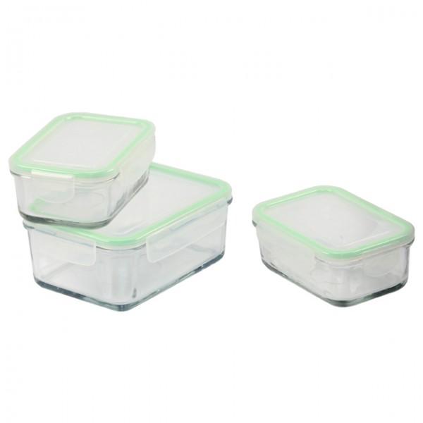 3er set glas frischhalte dose mit deckel vorratsdose aufbewahrungsbox mikrowelle ebay. Black Bedroom Furniture Sets. Home Design Ideas