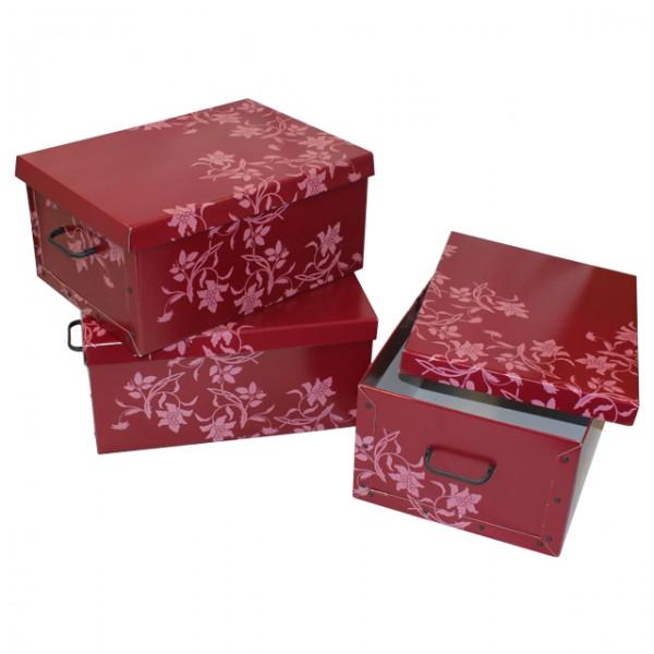stabile aufbewahrungsboxen mit deckel in rot mit dekorativ. Black Bedroom Furniture Sets. Home Design Ideas