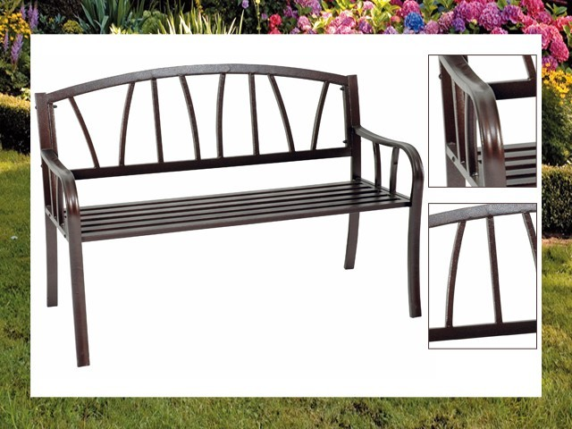 gartenbank metall unterverzinkt braun antik look sitzbank eisenbank bank garten ebay. Black Bedroom Furniture Sets. Home Design Ideas