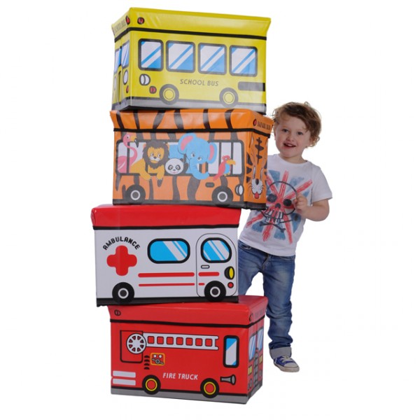 faltbare aufbewahrungsbox spielzeugbox feuerwehr schulbus safari krankenwagen baby und kind. Black Bedroom Furniture Sets. Home Design Ideas