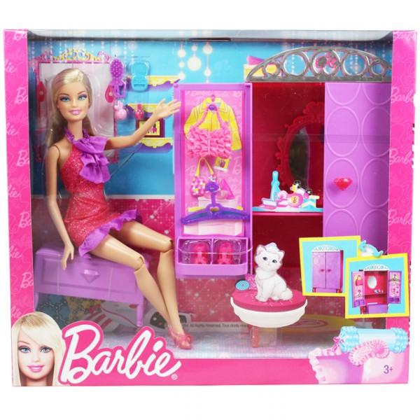Mattel T8008 Barbie Puppe Moebel Wohnzimmer Kosmetik Schrank