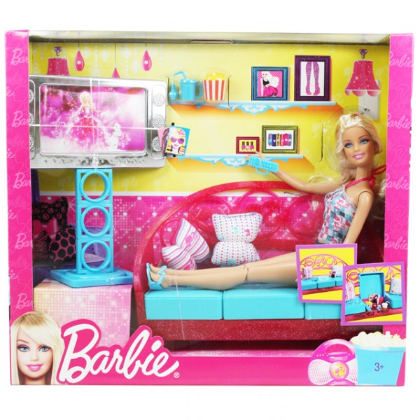 mattel t8008 barbie puppe m bel wohnzimmer kosmetik. Black Bedroom Furniture Sets. Home Design Ideas