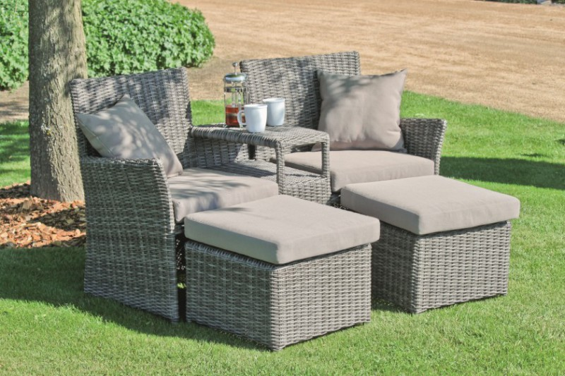 doppelsessel set calgary rattan sessel stuhl sitzgruppe garten m bel grau braun ebay. Black Bedroom Furniture Sets. Home Design Ideas