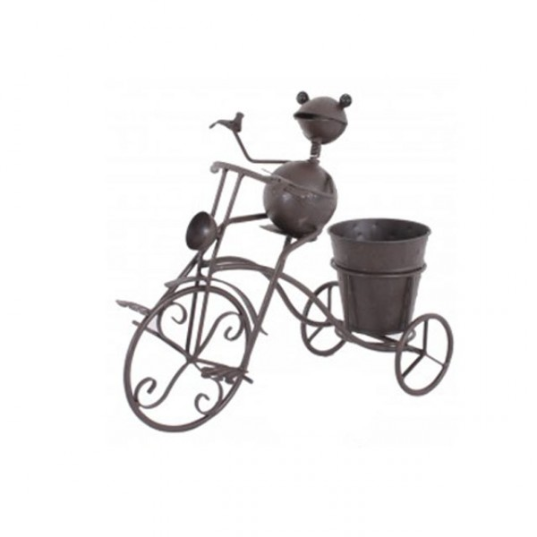 Gartendeko tier mit fahrrad metall topf frosch hund katze maus pflanzen neu ebay - Gartendeko fahrrad ...