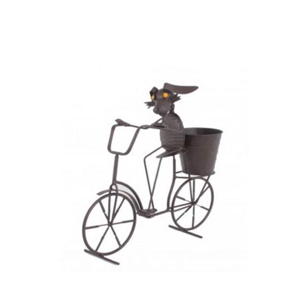 Gartendeko tier mit fahrrad metall topf frosch hund katze - Gartendeko fahrrad ...