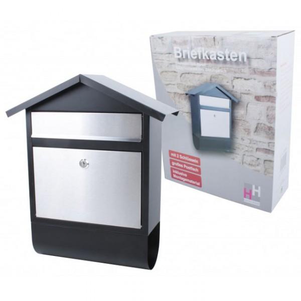 briefkasten edelstahl eisen silber schwarz zeitungsfach postkasten zeitungsrolle wand baumarkt. Black Bedroom Furniture Sets. Home Design Ideas