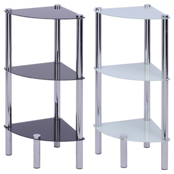 badezimmer eckregal badezimmerregal standregal glas ablage badregal bad m bel ebay. Black Bedroom Furniture Sets. Home Design Ideas