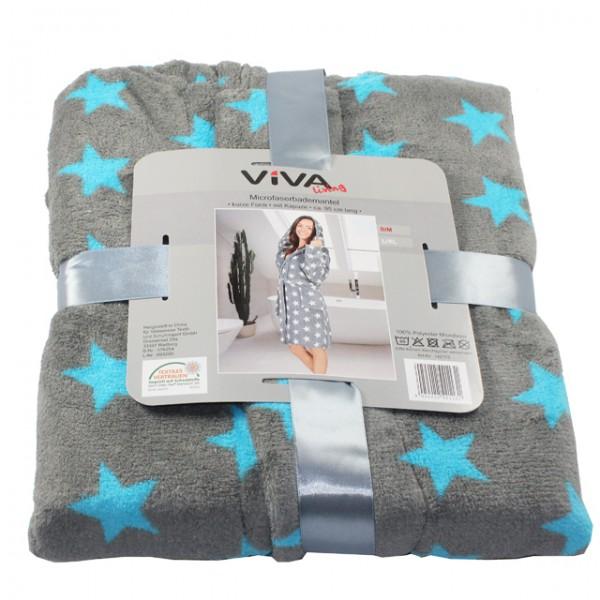 damen microfaser bademantel kurze form sterne s m l xl mit kapuze mantel sauna ebay. Black Bedroom Furniture Sets. Home Design Ideas
