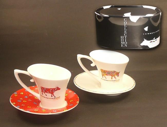 kaffeetassen set cow parade 4tlg b ware k che und haushalt geschirr besteck und gl ser. Black Bedroom Furniture Sets. Home Design Ideas