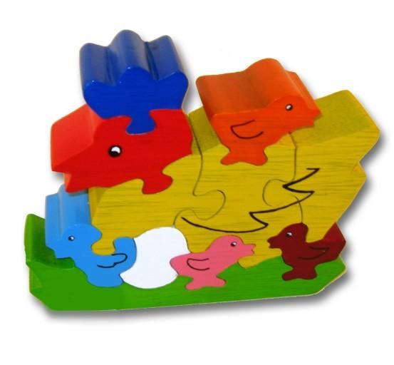 woodbrix 3d holzpuzzle huhn mit k ken kinderpuzzle puzzle holz holzspielzeug spiele und. Black Bedroom Furniture Sets. Home Design Ideas
