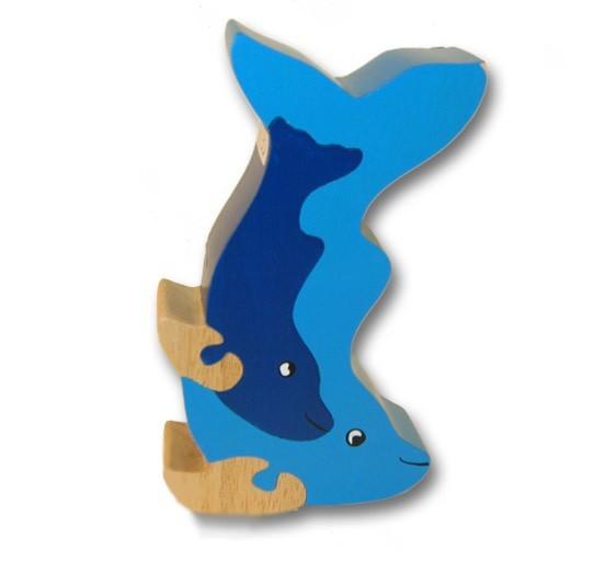woodbrix 3d holzpuzzle 3d kleiner delphin kinderpuzzle puzzle holz holzspielzeug spiele und. Black Bedroom Furniture Sets. Home Design Ideas