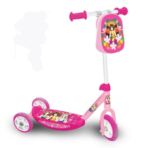 kinderroller mit 3 r dern f r m dchen 63cm roller f r kinder mit tasche kinder scooter ab 3. Black Bedroom Furniture Sets. Home Design Ideas