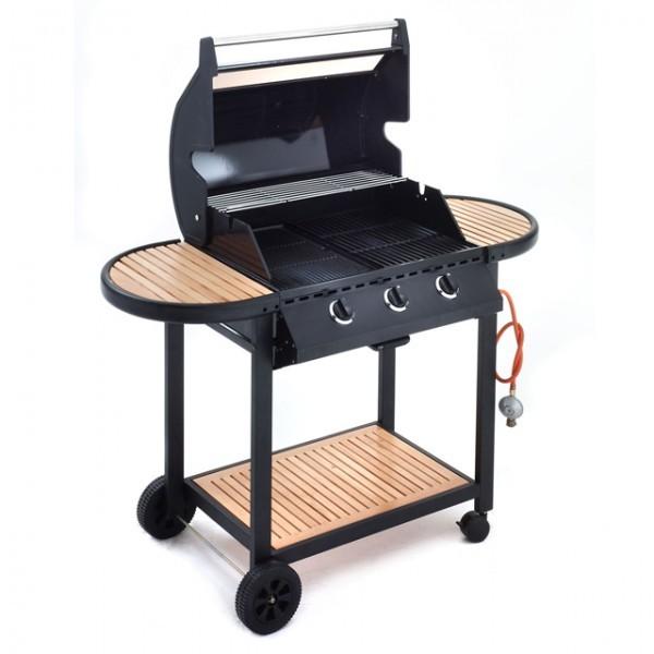 landmann 12315 luxus gasgrill mit holzablagen grill 3. Black Bedroom Furniture Sets. Home Design Ideas