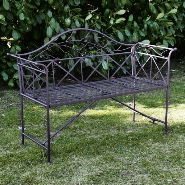gartenbank nero metall 2 sitzer metallbank unterverzinkt stabile dekobank 135cm bank eisenbank. Black Bedroom Furniture Sets. Home Design Ideas