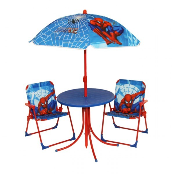spiderman kinderm bel set kindertisch mit st hle und sonnenschirm sitzgruppe kinder gartenm bel. Black Bedroom Furniture Sets. Home Design Ideas