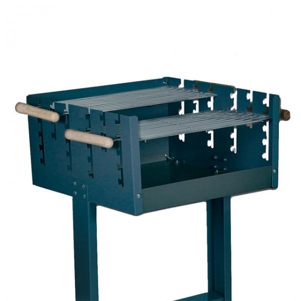 robuster grillwagen mit 2 geteiltem grillrost holzkohlegrill grill fahrbar haus und garten. Black Bedroom Furniture Sets. Home Design Ideas