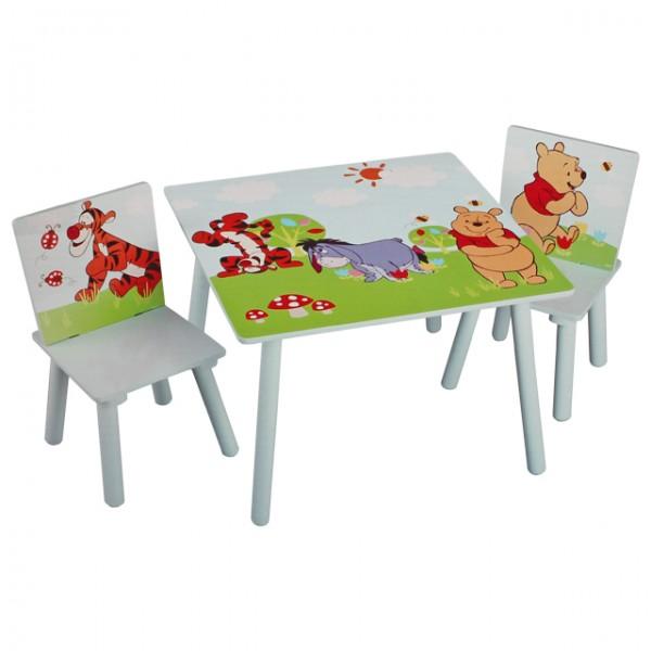 disney winnie pooh tisch mit st hlen 60x60cm holz kindersitzgruppe kindersitzgarnitur baby und. Black Bedroom Furniture Sets. Home Design Ideas