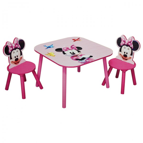 disney minnie mouse tisch mit st hlen 60x60cm holz kindersitzgruppe kindersitzgarnitur. Black Bedroom Furniture Sets. Home Design Ideas