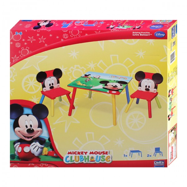 disney mickey maus kindertisch mit 2 st hle 60x60cm holz. Black Bedroom Furniture Sets. Home Design Ideas