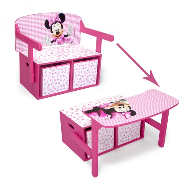 disney minnie mouse 3 in 1 bank aus holz umklappbar zum maltisch mit aufbewahrungsboxen baby und. Black Bedroom Furniture Sets. Home Design Ideas