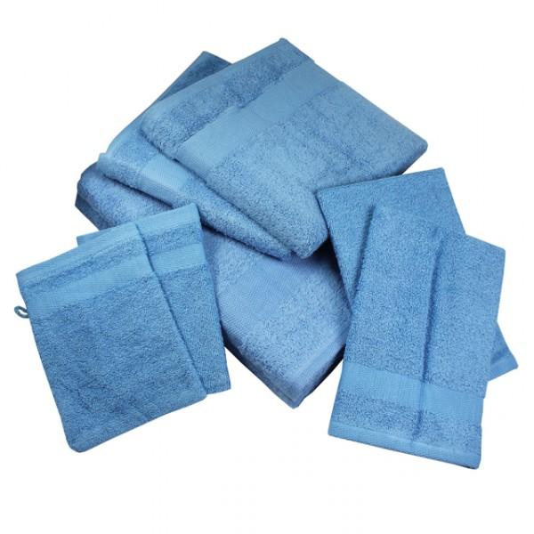 facotti handtuch set 7tlg blau orange weiss waschhandschuh duschtuch waschlappen m bel wohnen. Black Bedroom Furniture Sets. Home Design Ideas