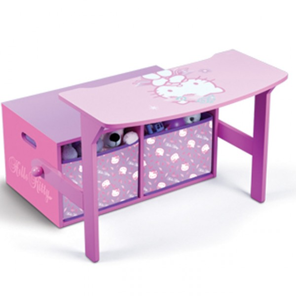hello kitty 3 in 1 bank aus holz umklappbar zum maltisch mit aufbewahrungsboxen baby und kind. Black Bedroom Furniture Sets. Home Design Ideas