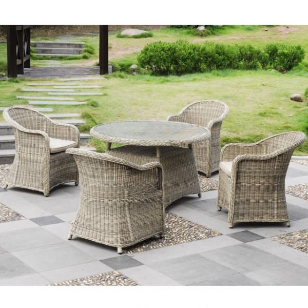 Hagebau Gartenmobel Teak : Tischgruppe rund Stuhl Tisch Gartenmöbel Rattan Lounge NEU Haus und