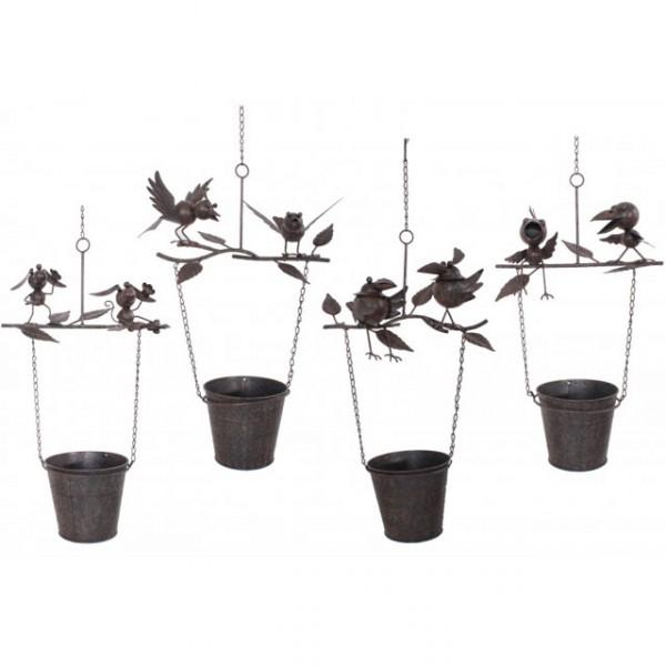 gartendeko tier auf bertopf metall bepflanzbar blumentopf topf pflanzen aufh ngen vogel haus. Black Bedroom Furniture Sets. Home Design Ideas