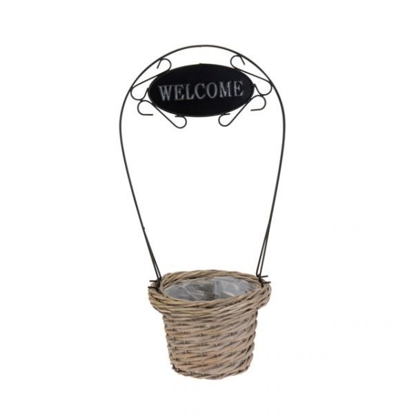 blumentopf mit willkommensschild aus holz und metall m willkommen welcome t rschild gartendeko. Black Bedroom Furniture Sets. Home Design Ideas