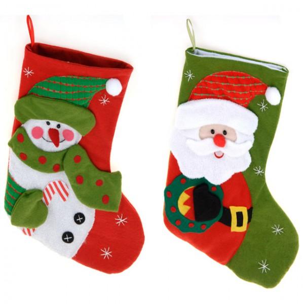 weihnachtssocke weihnachtsstrumpf nikolausstrumpf gr n rot. Black Bedroom Furniture Sets. Home Design Ideas