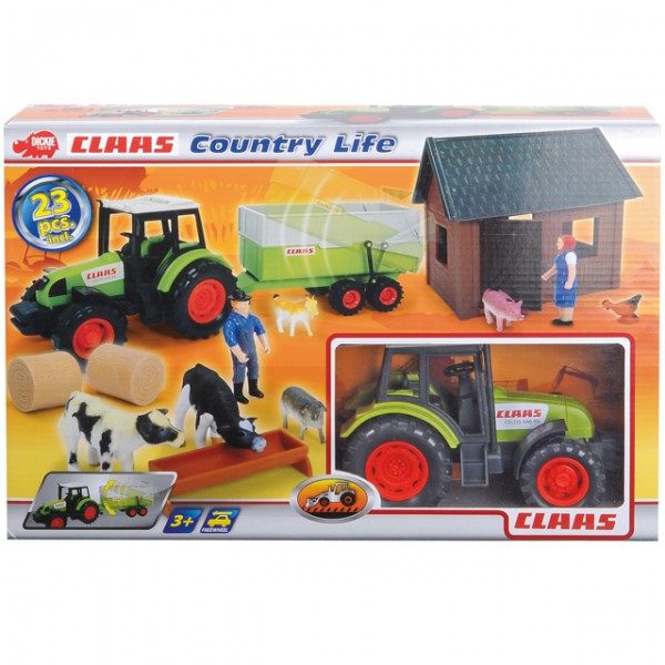 Dickie 23tlg country life set claas traktor trecker farm for Badezimmer 94 spiel