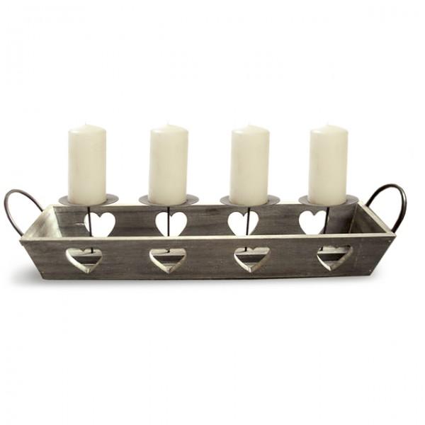Schale HERZ 4 Kerzen weiß braun 60x14cm Adventskranz Advent ...