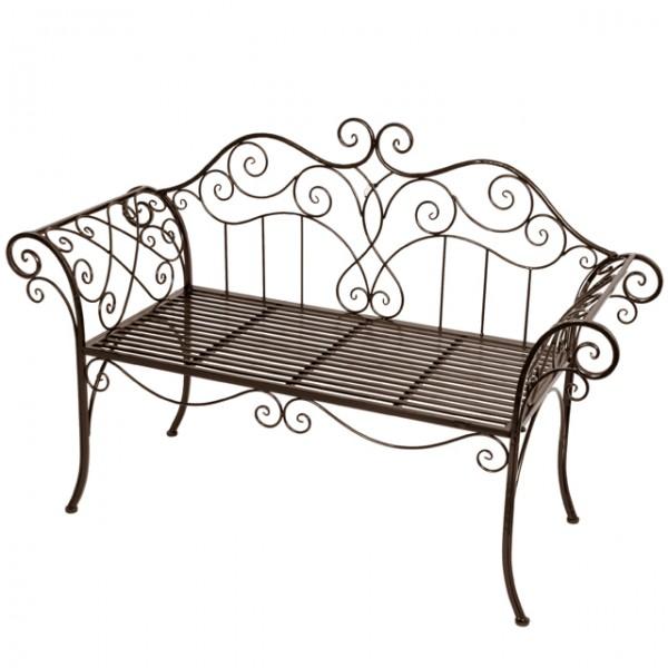 2 sitzer gartenbank metall mit verzierungen rost optik eisenbank parkbank gartenm bel neu haus. Black Bedroom Furniture Sets. Home Design Ideas