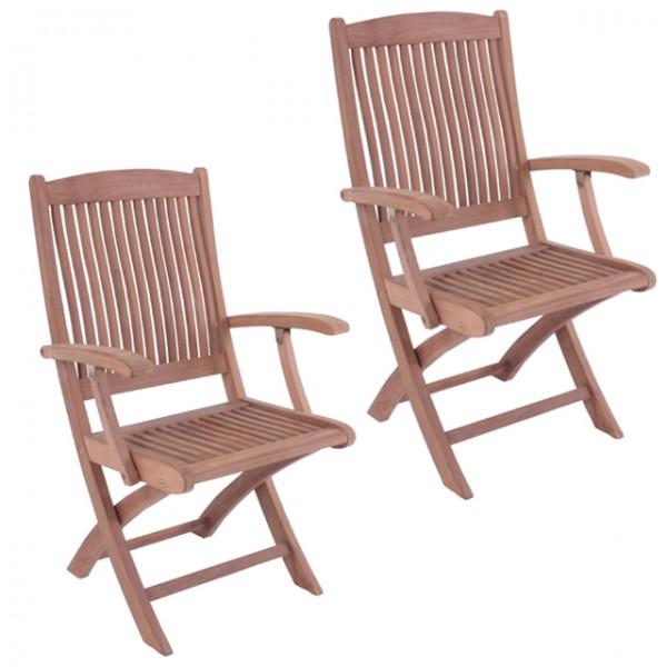 2er set klapparmstuhl medan mit armlehne teak a grade unbehandelt ergonomisch gartenstuhl holz. Black Bedroom Furniture Sets. Home Design Ideas