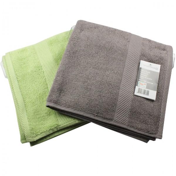 2er set frottee handtuch grau gr n 50x100cm badezimmer. Black Bedroom Furniture Sets. Home Design Ideas