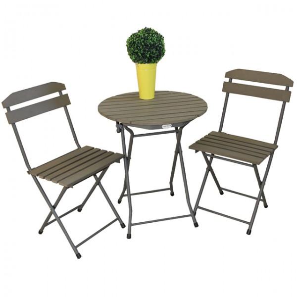 3-tlg. Balkonset Sitzgruppe LUGO Stahl pulverbeschichtet non-wood ...