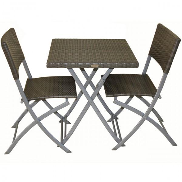 3 tlg balkonset sitzgruppe norfolk grau stahl kunststoffgeflecht rattan optik tisch 2 st hle. Black Bedroom Furniture Sets. Home Design Ideas