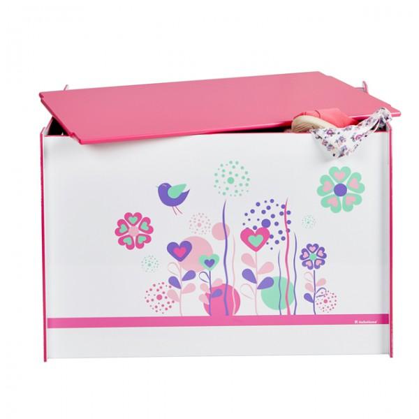toy box spielzeugbox mit griff und deckel holz blumen. Black Bedroom Furniture Sets. Home Design Ideas